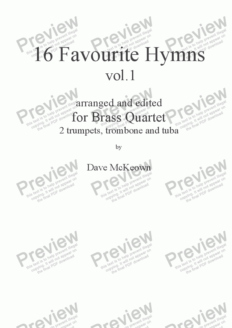 page one of  16 Favourite Hymns Vol.1 for Brass Quartet