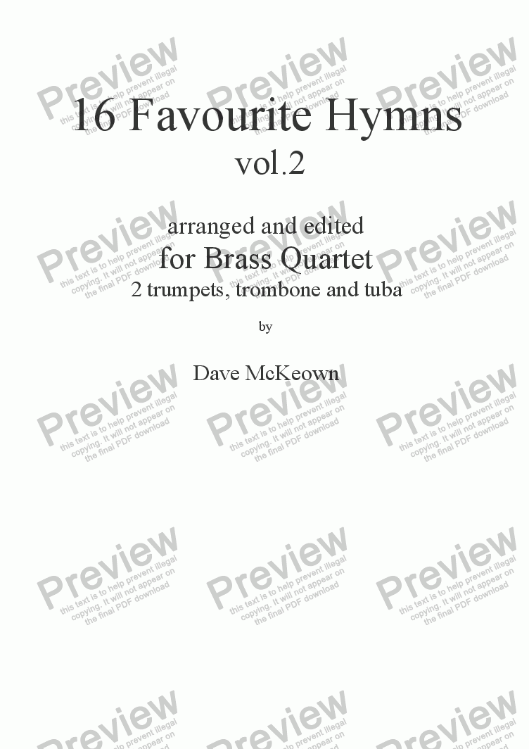 page one of  16 Favourite Hymns Vol.2 for Brass Quartet
