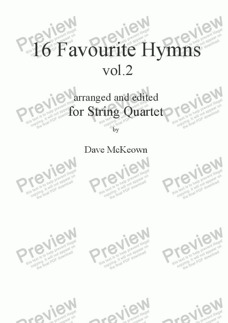 page one of  16 Favourite Hymns Vol.2 for String Quartet
