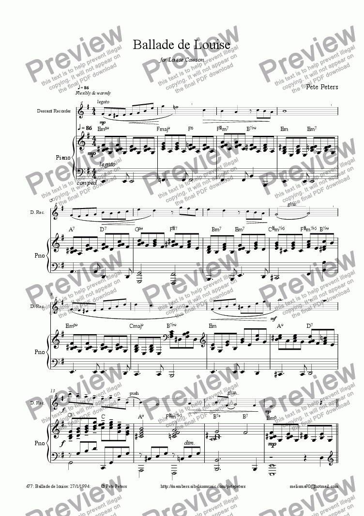 page one of Ballade de Louise [Flute or Rec]ASALTTEXT