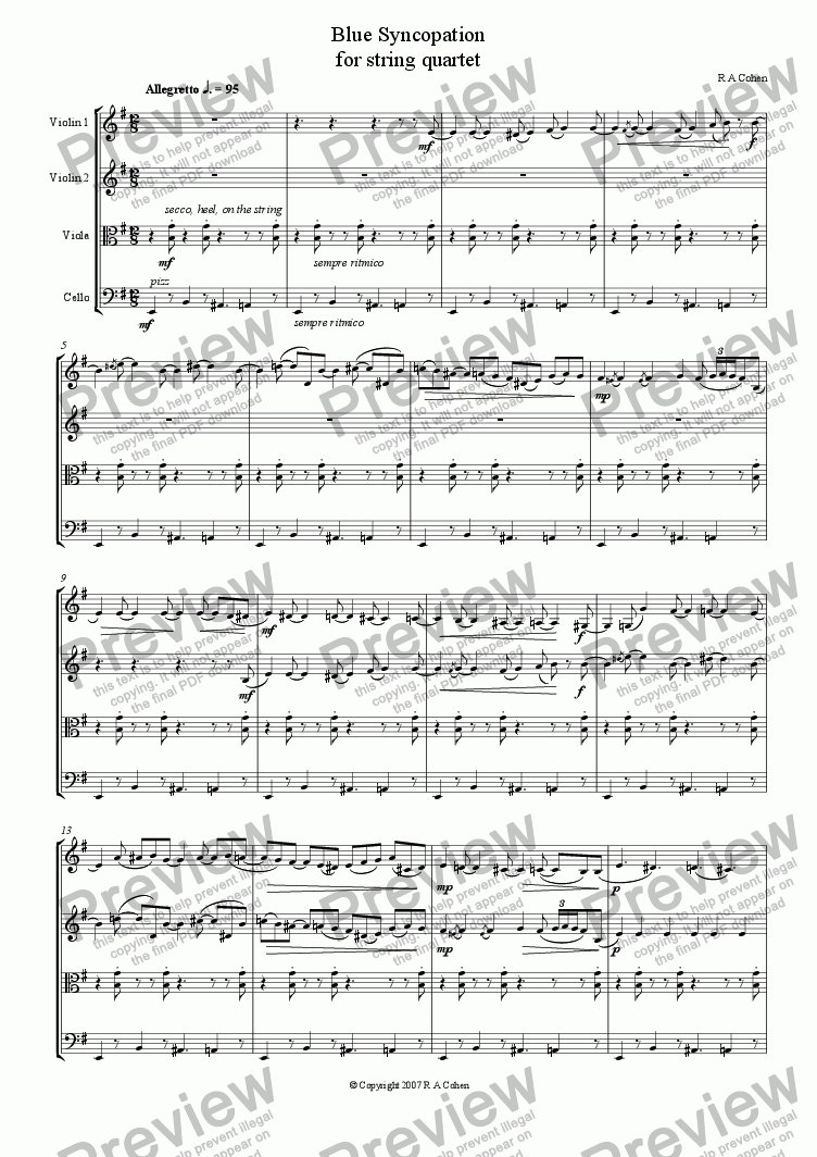 page one of BLUE SYNCOPATION - for string quartetASALTTEXT