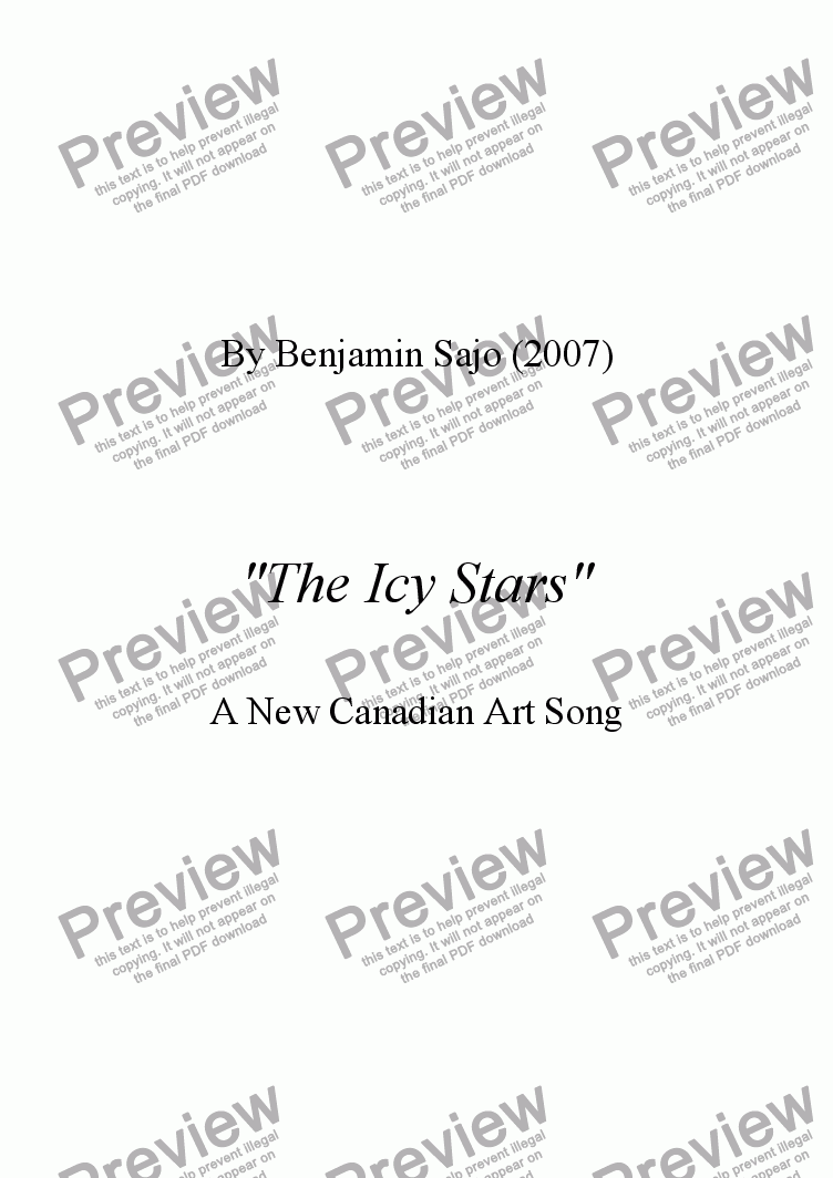 "page one of ""The Icy Stars"" - A New Canadian Art Song"