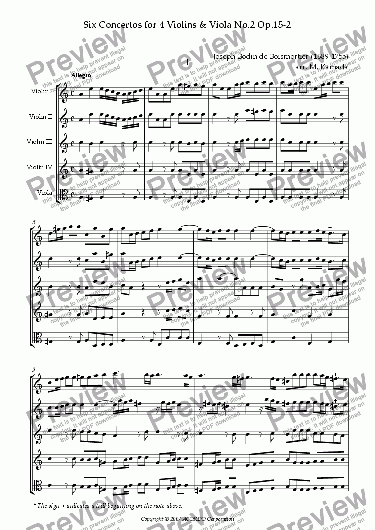 page one of Six Concertos No.2 for four Violins & Viola Op.15-2