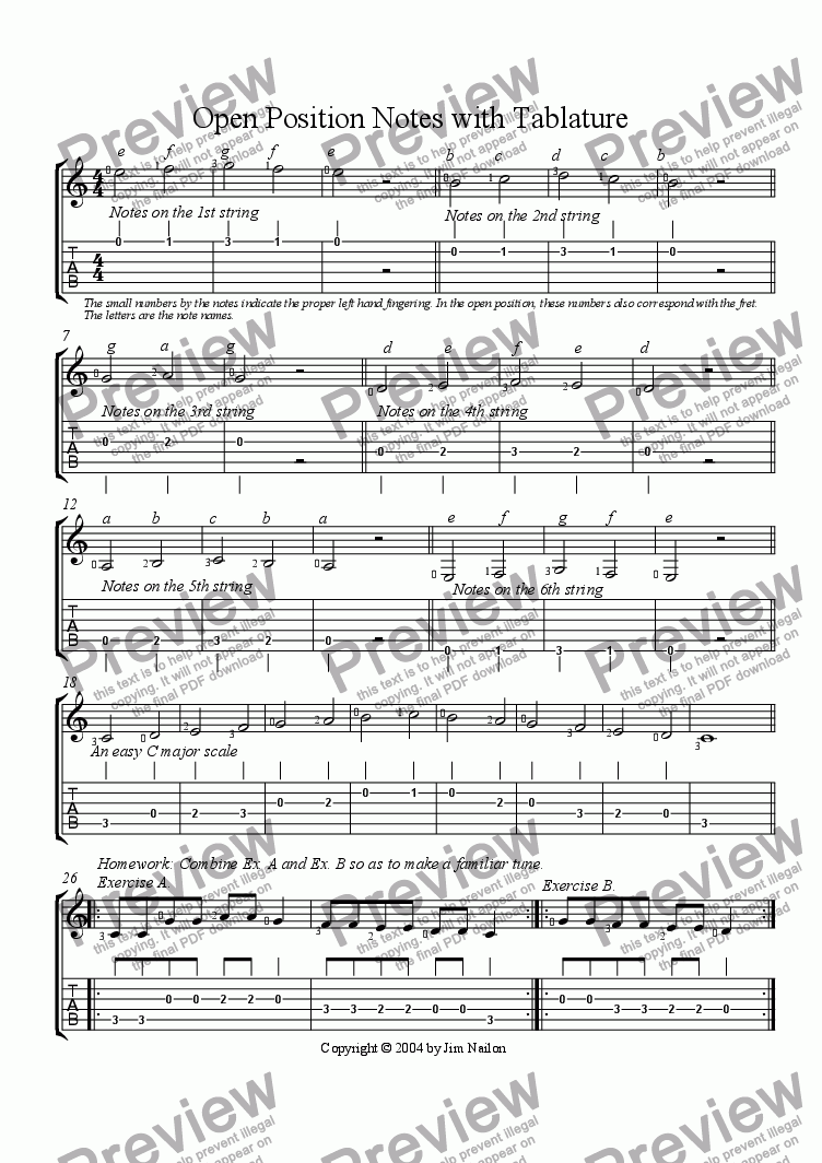 page one of Open Position Notes with Tablature