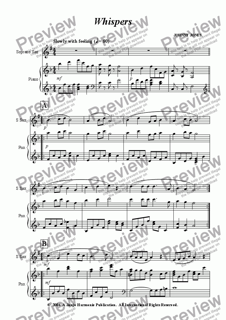 page one of Whispers   (Soprano Sax and Piano)