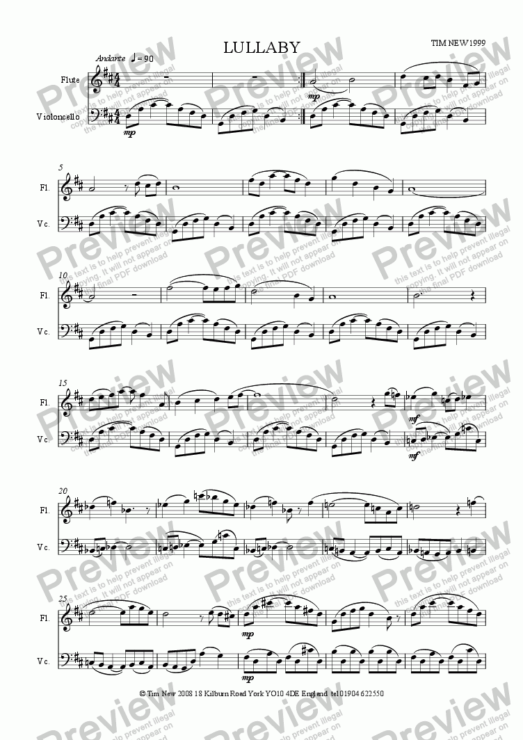 page one of Lullaby for flute and cello