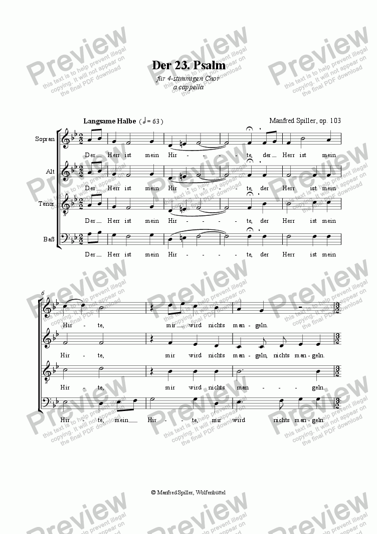 page one of The 23rd Psalm, Der 23. Psalm