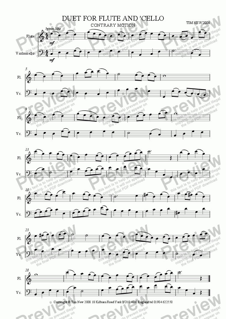 page one of DUET FOR FLUTE AND CELLO