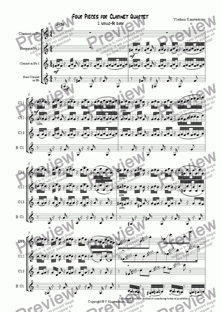 page one of 2. Would-Be Quick (from Four Pieces for Clarinet Quartet)