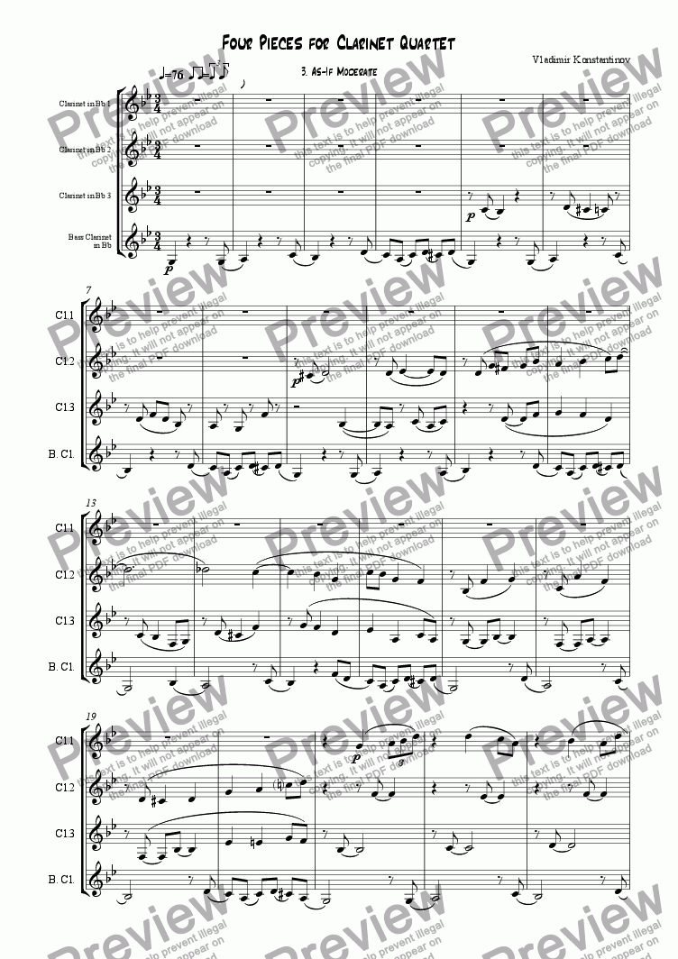 page one of 3. As-If Moderate (from Four Pieces for Clarinet Quartet)