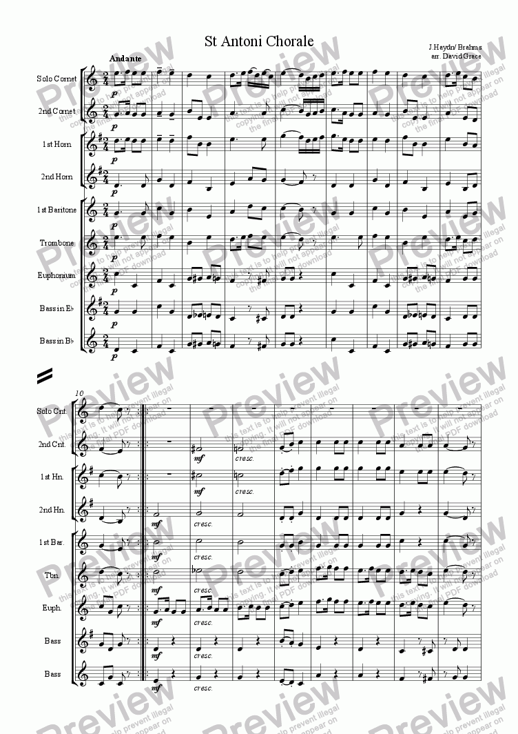 page one of St Antoni Chorale