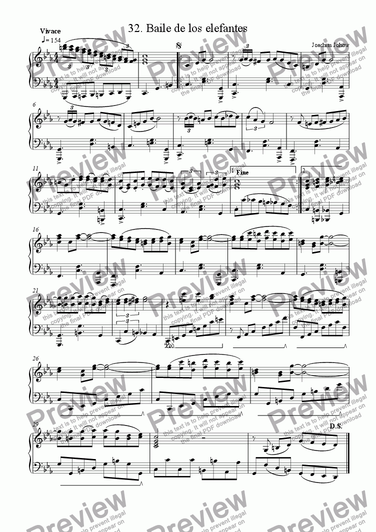 page one of Piano Book 032  (Baile de los elefantes)