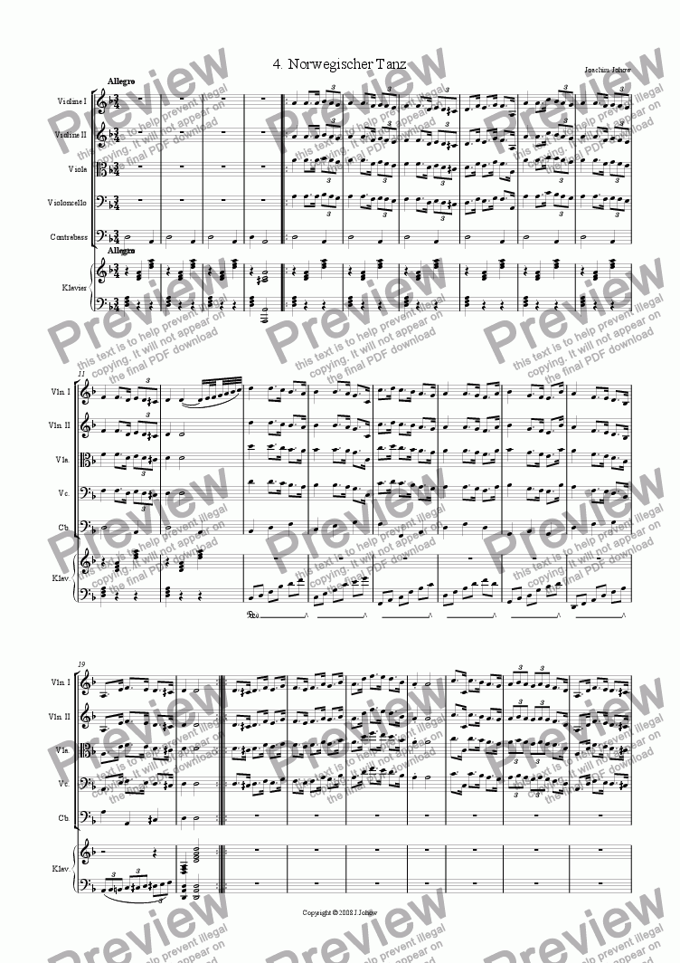 page one of 7 Unisoni (4. Norwegian Dance - Strings and Piano)ASALTTEXT