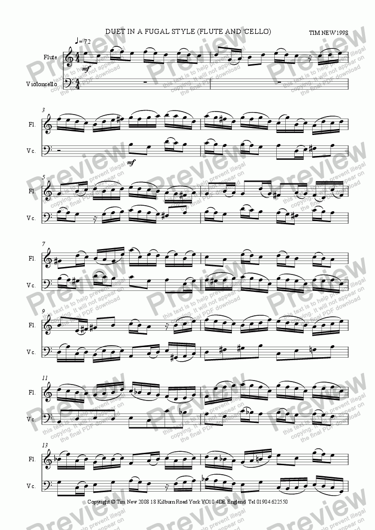 page one of DUET IN A FUGAL STYLE (FLUTE AND 'CELLO)