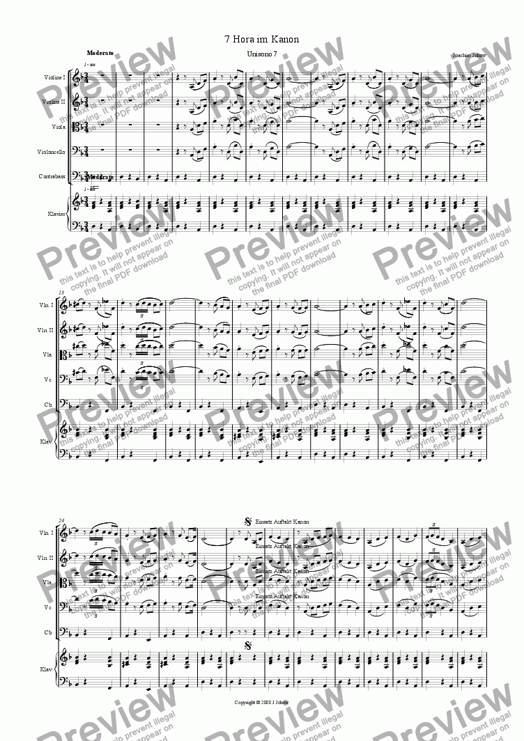 page one of 7 Unisono (7.Hora and Round - Strings and Piano)ASALTTEXT