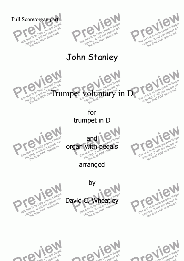 page one of Trumpet Voluntary (John Stanley) for trumpet in D and organASALTTEXT