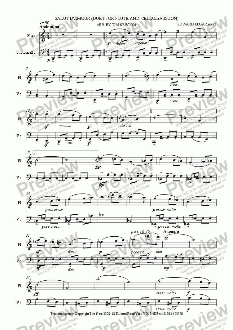 page one of SALUT D'AMOUR (DUET FOR FLUTE AND 'CELLO/BASSOON)