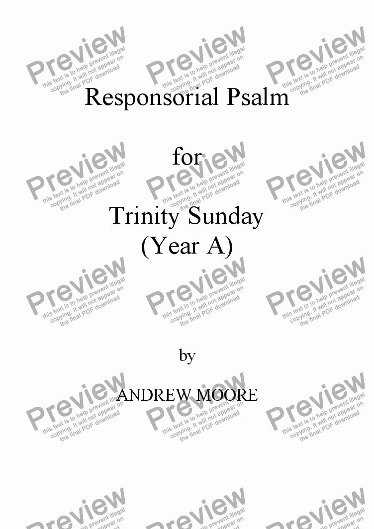 page one of Trinity Sunday (Year A)