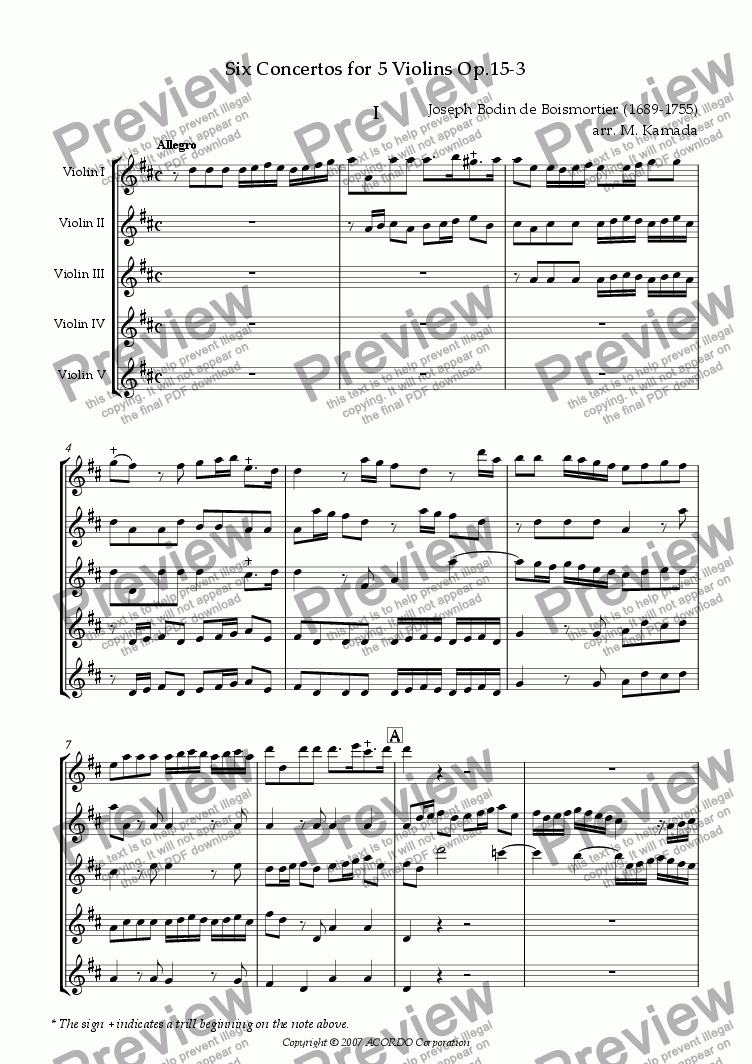 page one of Six Concertos No.3 for five Violins Op.15-3