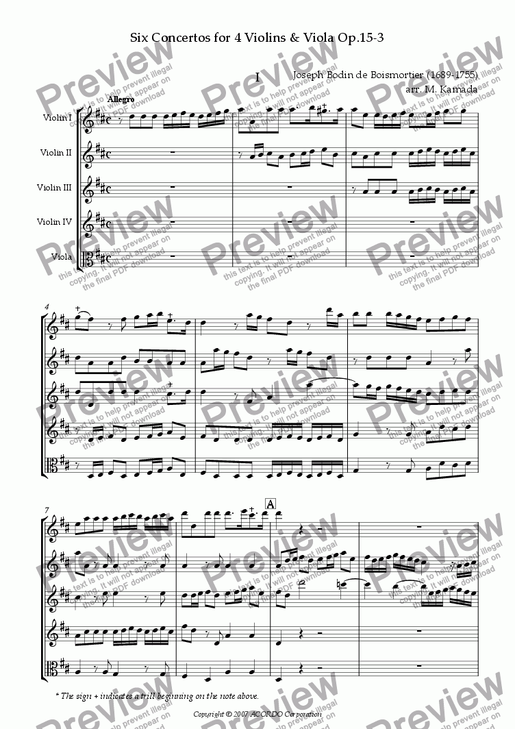 page one of Six Concertos No.3 for four Violins & Viola Op.15-3