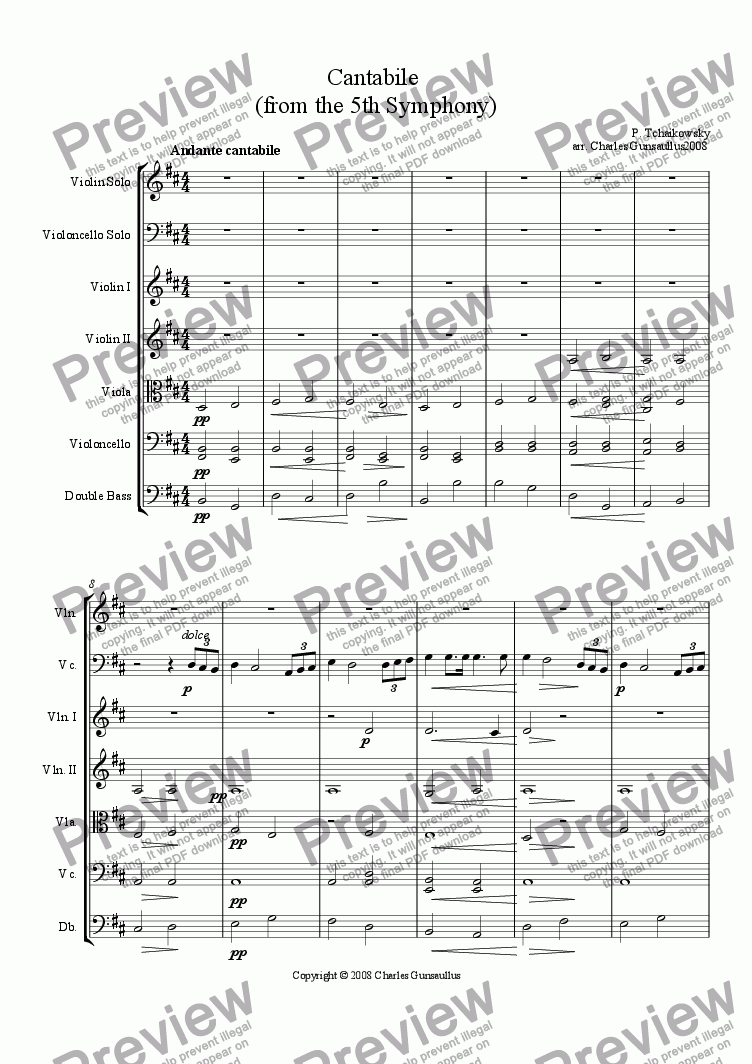 5Th Symphony 'cantabile' from the 5th symphony for string orchestrap. tchaikowsky -  sheet music pdf file to download