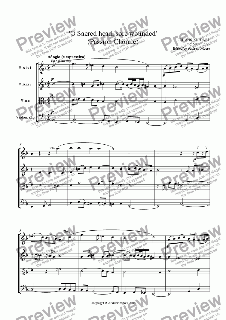 page one of Passion Chorale - 'O Sacred Head Sore Wounded' for String Quartet