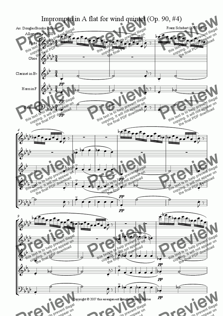 page one of Schubert: Piano Impromptu in Ab (Op. 90, #4) for Wind QuintetASALTTEXT