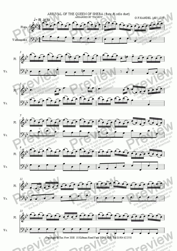 page one of ARRIVAL OF THE QUEEN OF SHEBA (FLUTE & CELLO DUET)