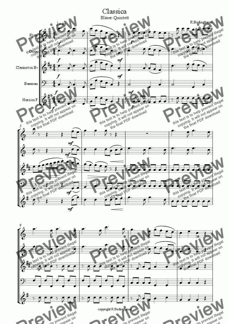 page one of Classica Bl�ser Quintett