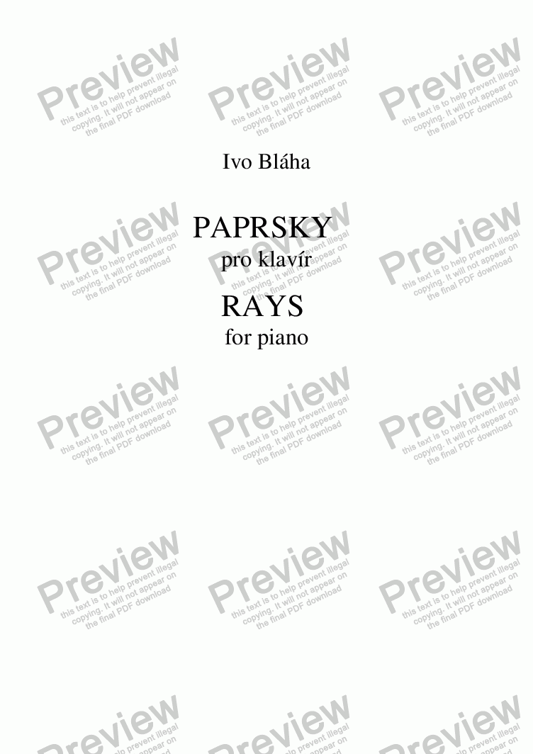 page one of RAYS (Paprsky) for piano