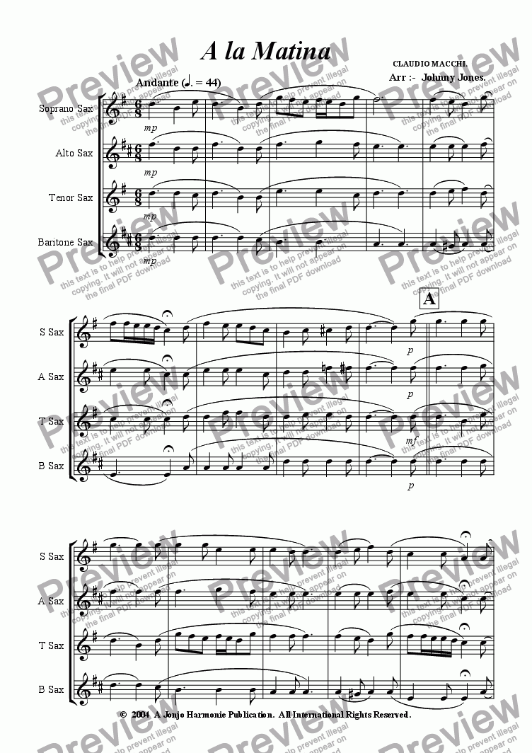 page one of A la Matina   (Saxophone Quartet)