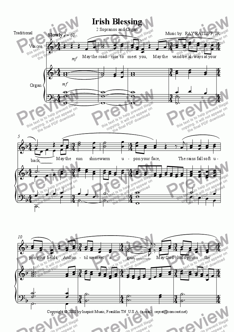 Irish Blessing (2 Sopranos and Organ) for Duet of Organs [manuals] by Ray  Ratliff - Sheet Music PDF file to download