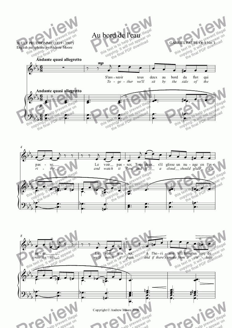 page one of 'Au  bord de l'eau' for voice and piano Op.8 No.1