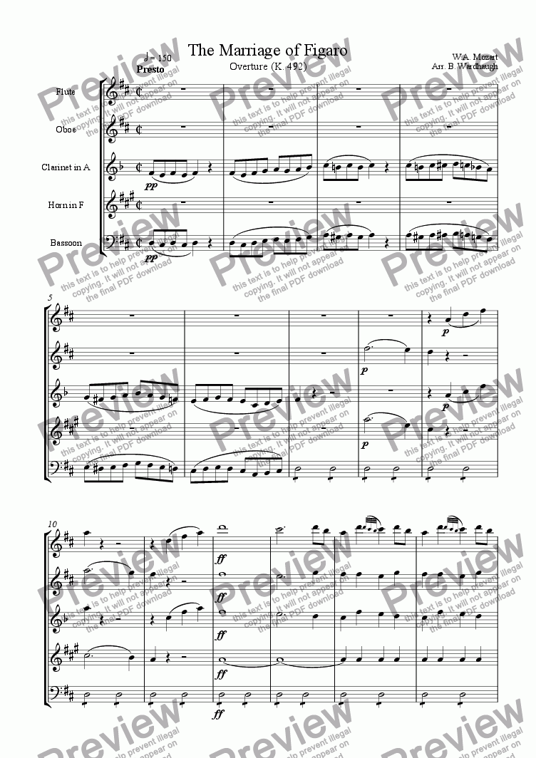 page one of Overture: The Marriage of Figaro