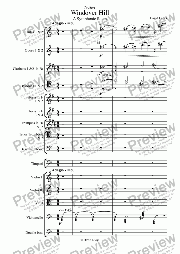 page one of Symphonic Poem: Windover HillASALTTEXT