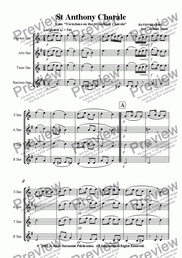 page one of St Anthony Chorale   (Saxophone Quartet)