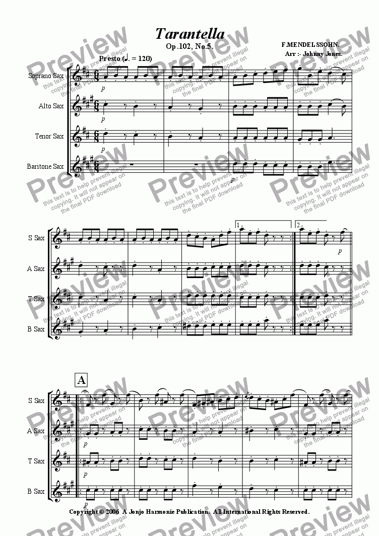 Tarantella - Saxophone