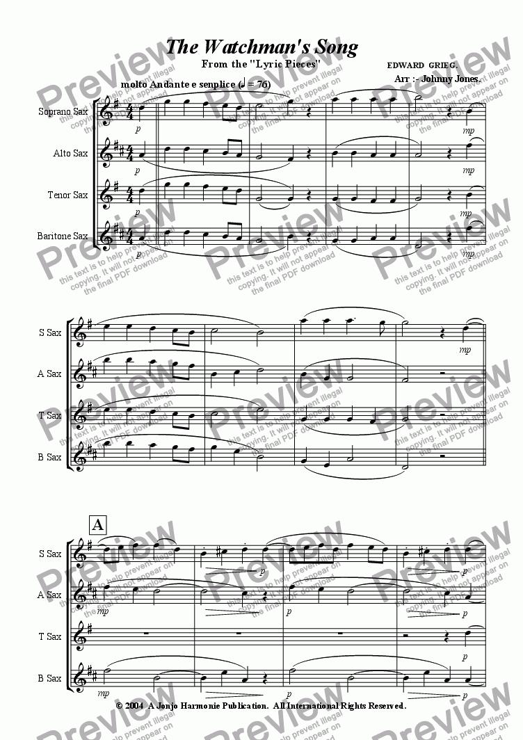 page one of Watchman's Song The   (Saxophone Quartet)