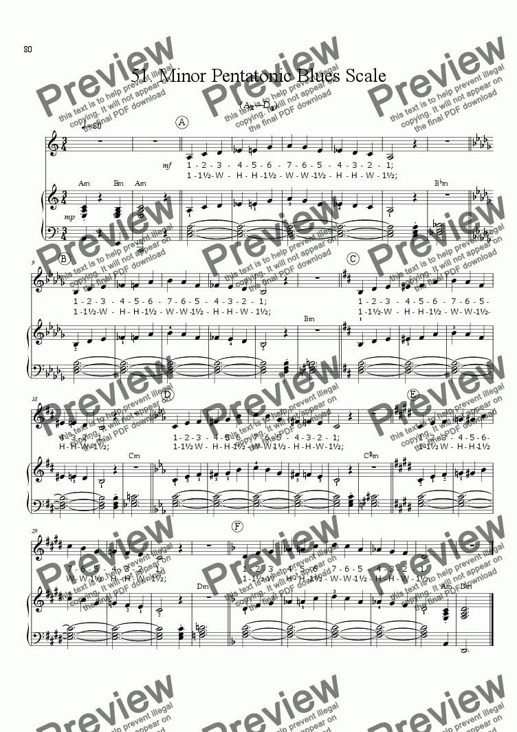 page one of Sing!�51. Minor Pentatonic Blues Scale [teacher]