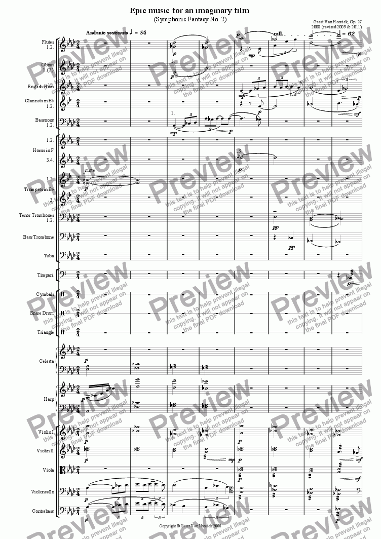 page one of Epic Music for an Imaginary Film