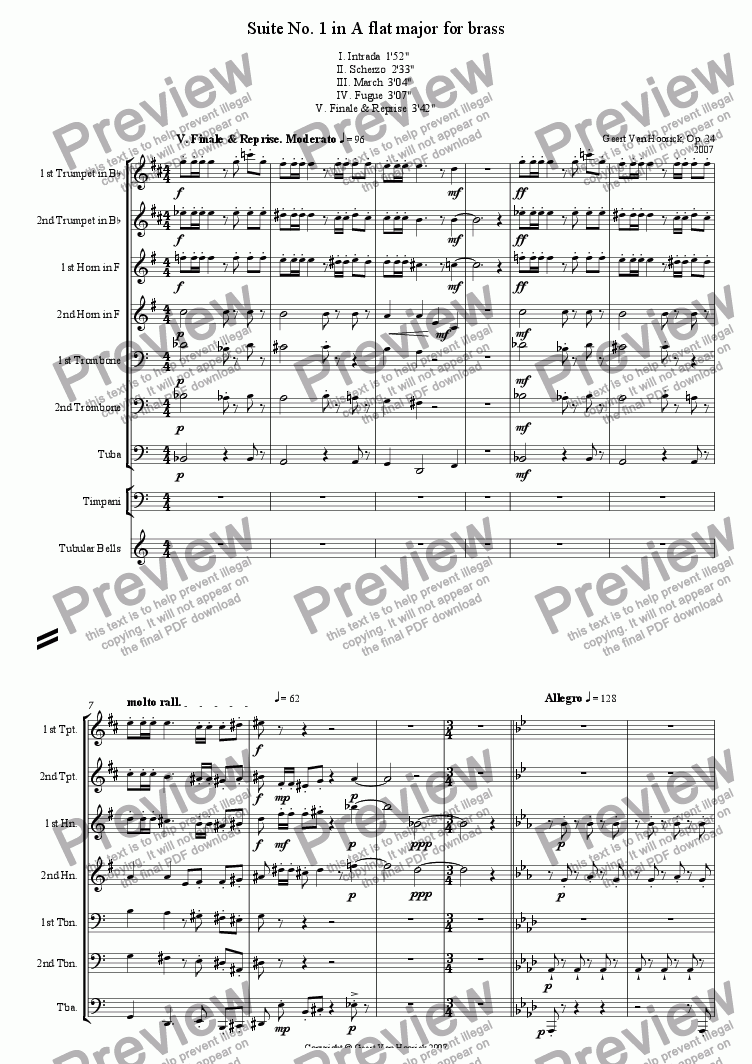 page one of Suite No. 1 in A flat major for brass, Op. 24 - V. Finale & Reprise