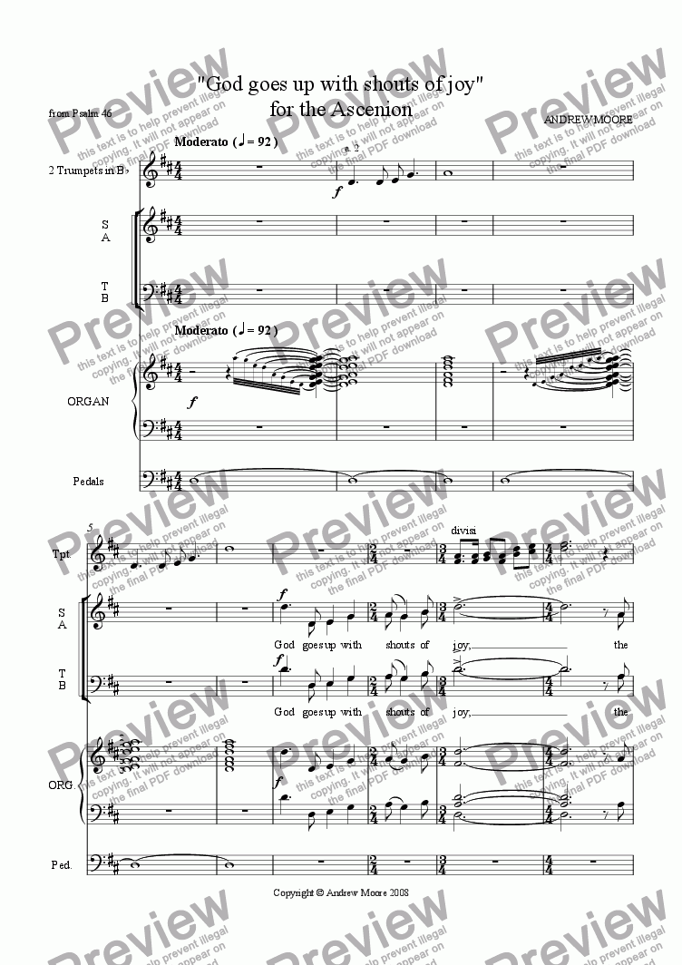 page one of 'God goes up with shouts of joy' for SATB, trumpets & organ - for Ascension