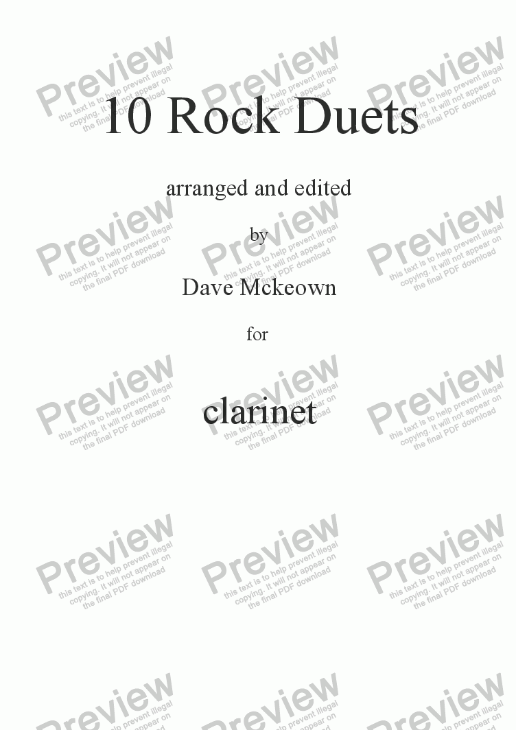 page one of 10 Rock Duets for Clarinet