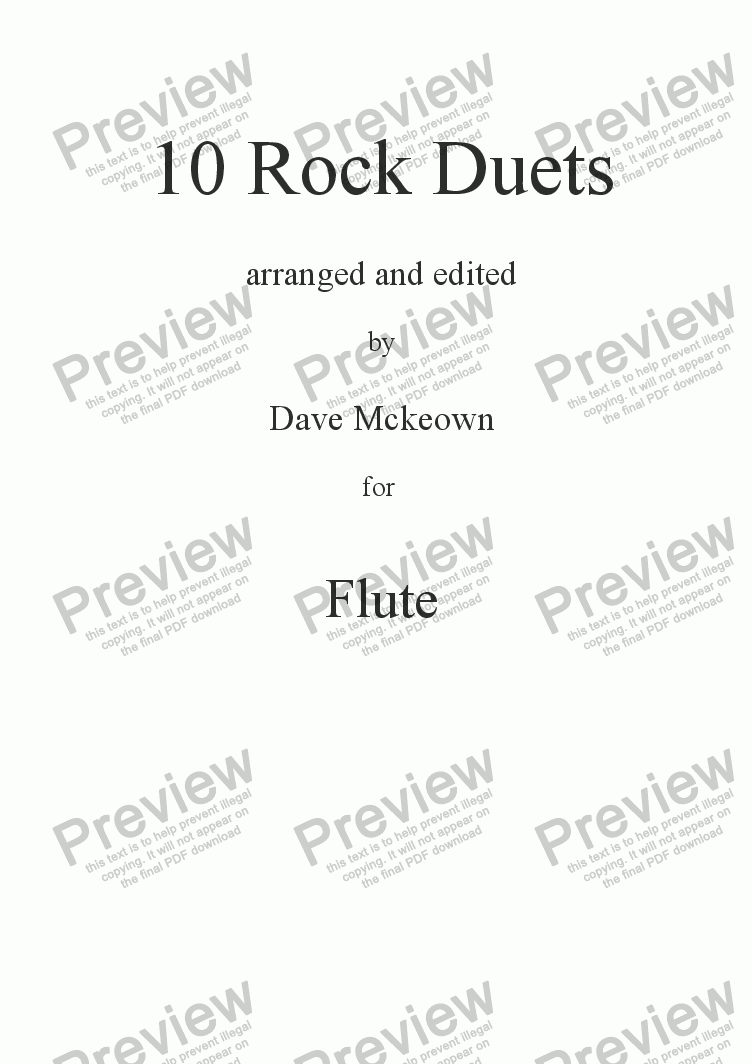 page one of 10 Rock Duets for Flute
