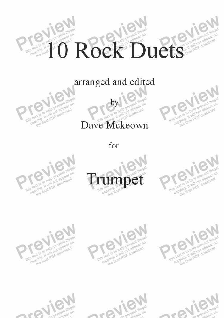 page one of 10 Rock Duets for TrumpetASALTTEXT