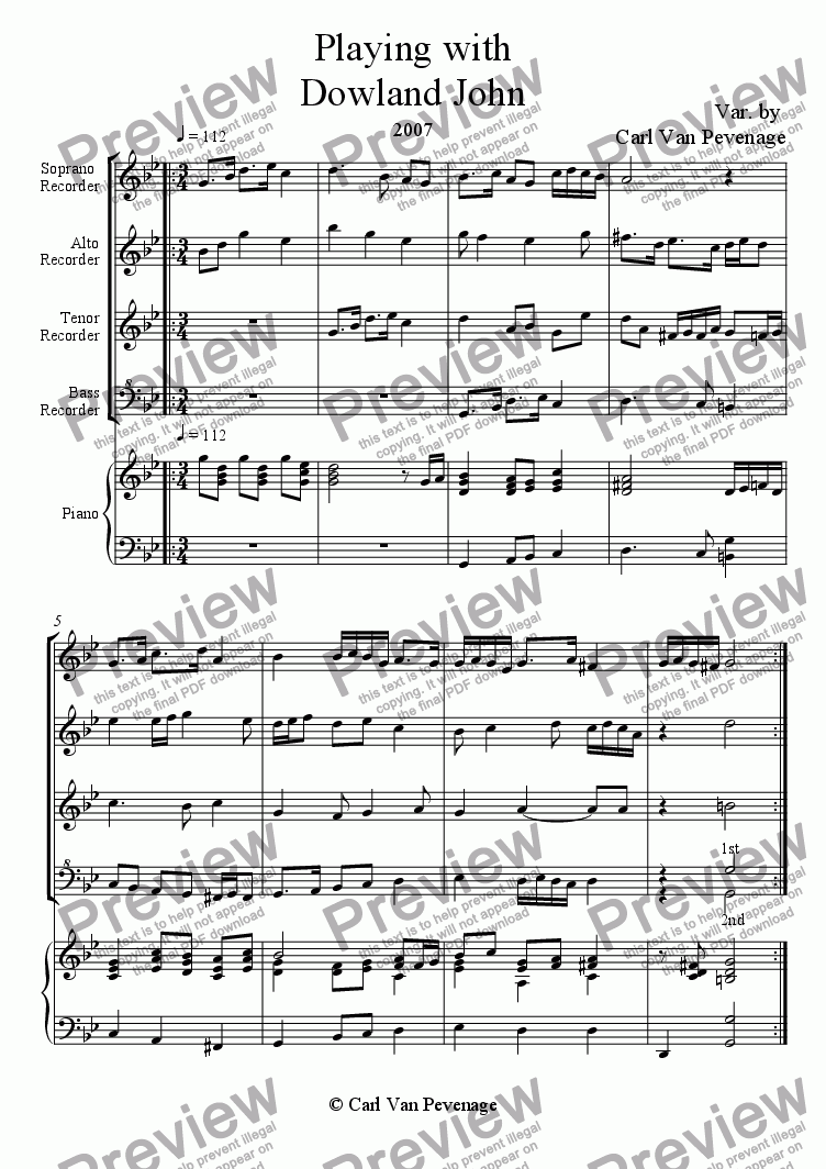 page one of Playing with Dowland John
