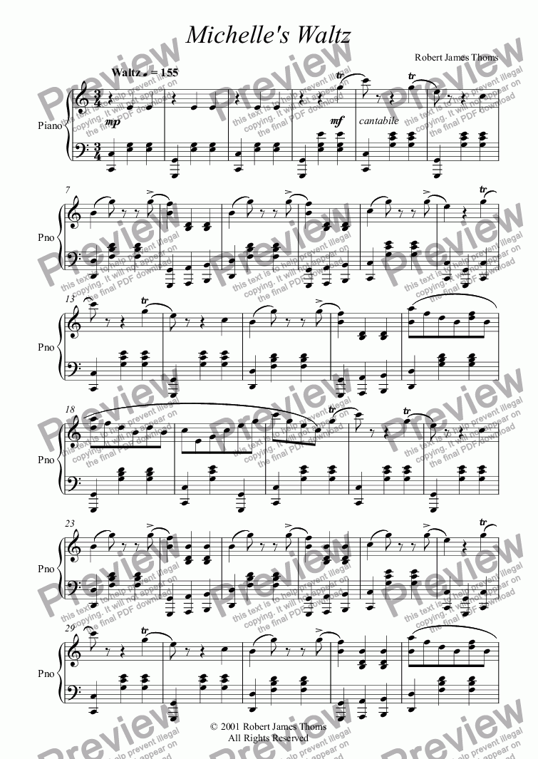 page one of Michelle's Waltz  [pno]ASALTTEXT