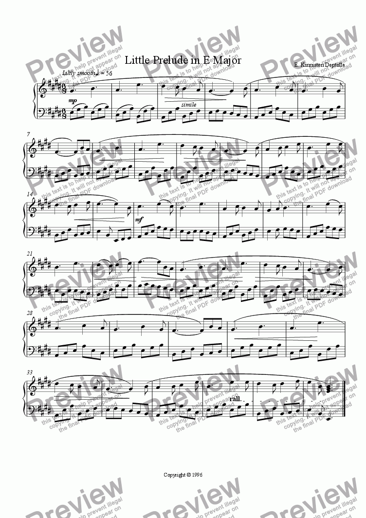 page one of Little Prelude in E Major