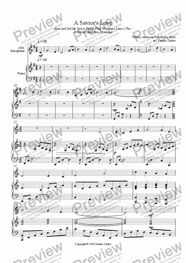 page one of A Savior's Love (Solo Instrument and piano)