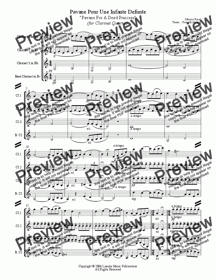 page one of Ravel - Pavane For a Dead Princess (Clarinet Quartet)ASALTTEXT